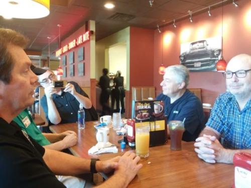 CHRC Club Breakfast - Will, Hal, John, Mike A., Mike C. (left to right)