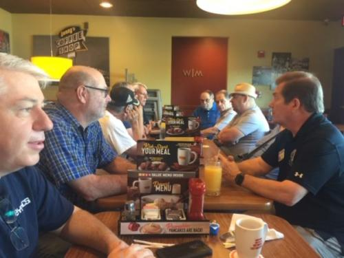 CHRC Club Breakfast - Mike A., Mike C., Ray, Byon, Norm, Don, Erich, Gary, Lisa, Will (left to right)