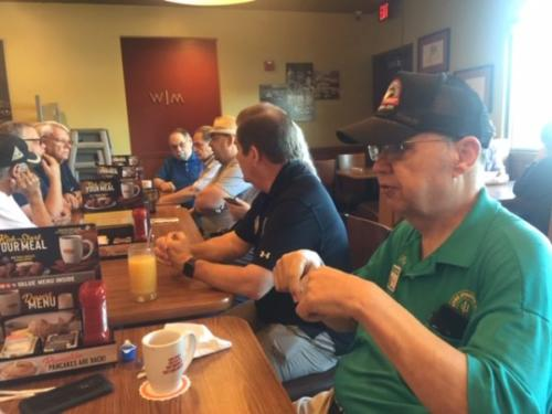 CHRC Club Breakfast - Ray, Byon, Norm, Don, Erich, Gary, Lisa, Will, Hal (left to right)